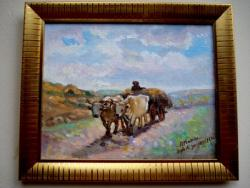 Picturi cu potrete/nuduri Tablou Car cu doi boi