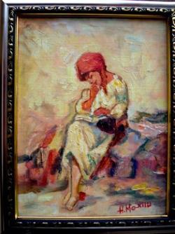 Picturi cu potrete/nuduri Tarancuta citind