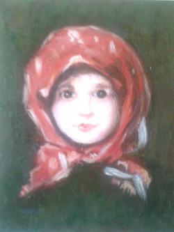 Picturi cu potrete/nuduri Fata cu basma rosie