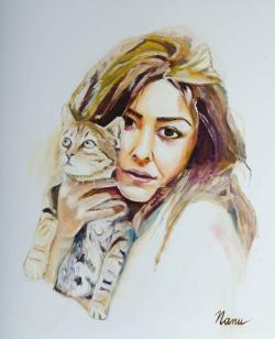 Picturi cu potrete/nuduri Fata cu pisica...