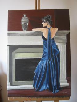 Picturi cu potrete/nuduri Eleganta in albastru