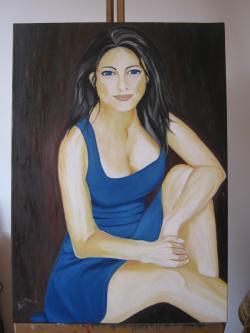 Picturi cu potrete/nuduri Fata cu ochi albastri