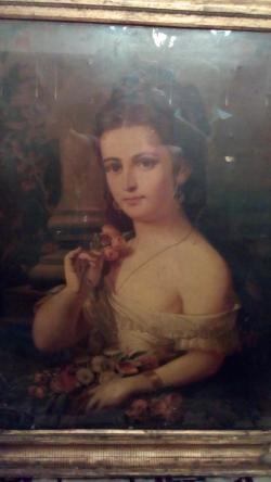Picturi cu potrete/nuduri Fata cu flori