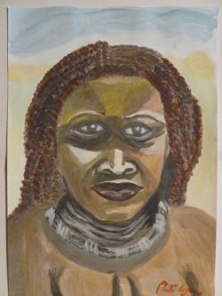 Picturi cu potrete/nuduri Femeie de culoare cu colier