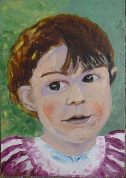 Picturi cu potrete/nuduri Fetita cu rochita mov