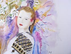 Picturi cu potrete/nuduri Tanara in costum traditional