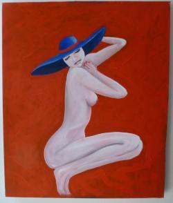 Picturi cu potrete/nuduri doamna cu palaria