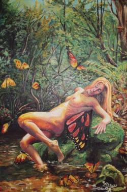 Picturi cu potrete/nuduri Femeia_fluture