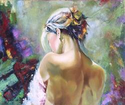 Picturi cu potrete/nuduri Femeia cu coc