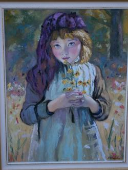 Picturi cu potrete/nuduri fetita cu flori de camp