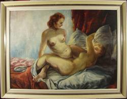 Picturi cu potrete/nuduri nud  doua femei