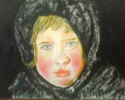 Picturi cu potrete/nuduri Fetita cu broboada