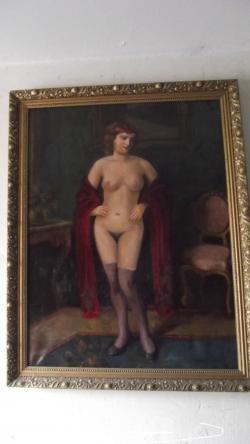 Picturi cu potrete/nuduri nud cu voal rosu