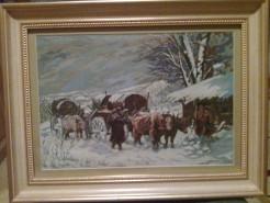Picturi de iarna Car cu boi  iarna