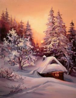 Picturi de iarna COLIBA  DINTRE BRAZI