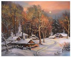 Picturi de iarna O SEARA DE BASM