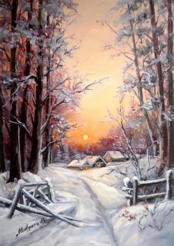 Picturi de iarna RASARIT DE IARNA IREALA