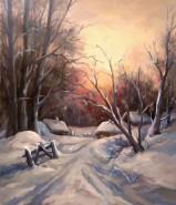 Picturi de iarna Soare apune