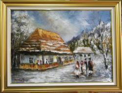 Picturi de iarna IARNA CU COLINDATORI