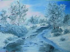 Picturi de iarna Rau inghetat