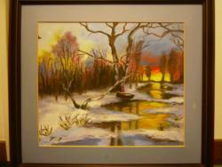 Picturi de iarna apus de iarna colorat