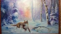 Picturi de iarna vulpe in padure