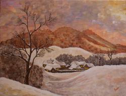 Picturi de iarna Zi de iarna - la apus