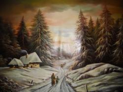 Picturi de iarna Apusul de iarna