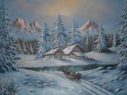 Picturi de iarna Cabana .
