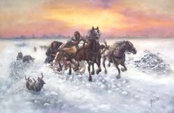 Picturi de iarna Sanie atacata de lupi