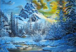 Picturi de iarna Amurg iarna