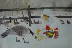 Picturi de iarna gaste pe lac