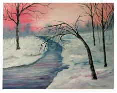 Picturi de iarna Apus iarna