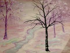 Picturi de iarna In tonuri de mov