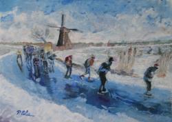 Picturi de iarna La patinaj