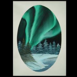 Picturi de iarna aurora borealis green