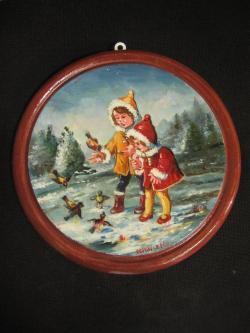 Picturi de iarna Doi copii iarna