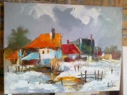 Picturi de iarna LA MARGINEA SATULUI IARNA