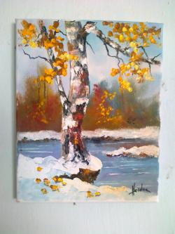 Picturi de iarna   pe malul apei