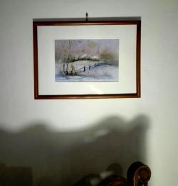 Picturi de iarna Peisaj de iarna pastel