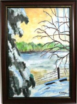 Picturi de iarna Lac inghetat