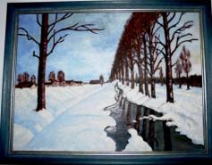 Picturi de iarna Margine de sat iarna 1