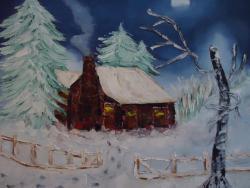 Picturi de iarna casa bunicii cod 0028