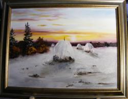 Picturi de iarna Apus de iarna timpurie