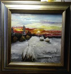 Picturi de iarna Capite iarna la apus