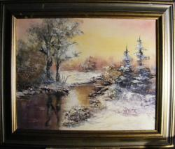 Picturi de iarna Iarna pe raul satului