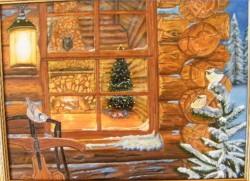 Picturi de iarna Mos craciun la fereastra