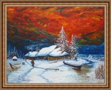 Picturi de iarna Cer in flacari