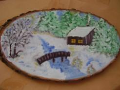 Picturi de iarna Casuta in iarna