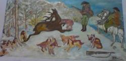 Picturi de iarna vanatoare de cerb